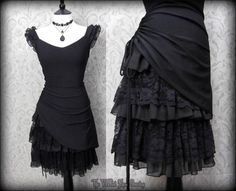 Gothic Romantic Lacey Black Bustle Effect Hitched Dress 14 Steampunk Victorian | THE WILTED ROSE GARDEN