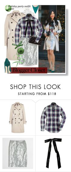 """""""Blogger Style: Plaid & Bow & Sequins"""" by hamaly ❤ liked on Polyvore featuring Burberry, J.Crew, Chanel, StreetStyle, BloggerStyle, Sequins, plaidshirt, waystowear, outfitideas and holidaystyle"""