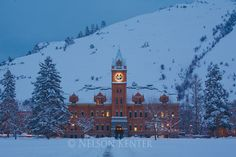 Main Hall at dawn on the University of Montana campus in Missoula, Montana after a
