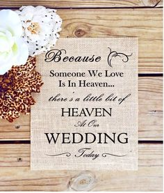 What a beautiful way to honor loved ones at your wedding. This is for one rustic wedding sign on thick burlap sheeting ready for framing or mounting. Check out our page for other great wedding decorations and wedding signs as well. | eBay!