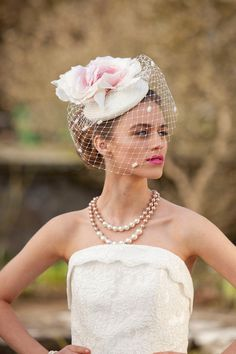 Petal  French Style Bridal Ombre Cocktail Hat by WillowMoone, $225.00