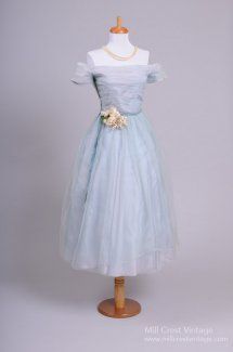 1950's Sky Blue Tulle Vintage Party/Wedding Dress