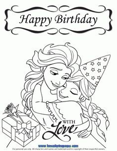 Frozen Happy Birthday With Love Coloring Page