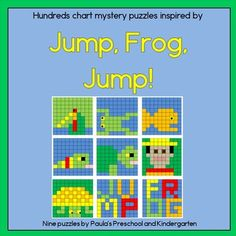 """Hundreds chart puzzles inspired by Jump, Frog, Jump!  9 puzzles representing a fly, frog, fish, snake, turtle, boy, basket, and the words """"jump"""" and """"frog"""".  Each puzzle is provided on a blank 100 chart and a numbered chart, so you can easily differentiate.  TpT $"""