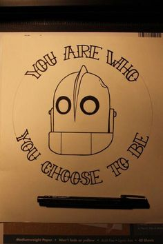The Iron Giant, my favorite movie as a kid. I'd probably just get his head, no words, as part of a sleeve. Movie Tattoos, Cartoon Tattoos, Pin Up Tattoos, Cool Tattoos, Tatoos, Tattoos Skull, Body Art Tattoos, Sleeve Tattoos, Geek Tattoos