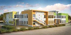 Theater Architecture, Facade Architecture, School Building Design, School Design, Public Library Design, Ecole Design, Modern House Facades, Kindergarten Design, Facade House