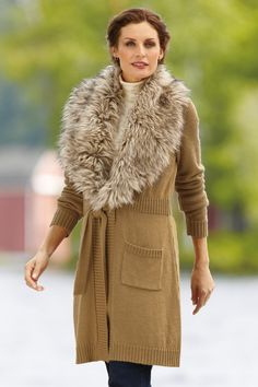 Express faux-fur trim sweaterwanttt | The World is a Runway