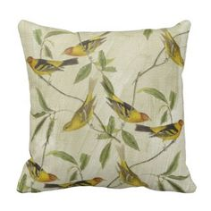 Yellow Birds Pillows - simply lovely {:-)