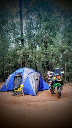 A motorcycle is a perfect company while camping!