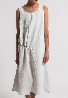 Oska - Linen Sleeveless Tanja Dress in Page Available at Oska Camberwell, Vic, Australia Oska Clothing, Gypsy Clothing, Day Dresses, Summer Dresses, Best Casual Outfits, White Linen Dresses, Daily Dress, Clothes For Women, My Style