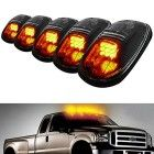 iJDMTOY® 5pcs Amber LED Cab Roof Top Marker Running Lights For Truck SUV 4×4 (Black Smoked Lens Lamps)