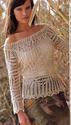 Openwork crochet long sleeve shirt - With diagrams at source