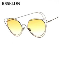 1e9ba357f0657 RSSELDN Fashion Hollow Out Sunglasses Women Designer 2018 Vintage Metal Cat  Eye Sexy Shades Female UV400
