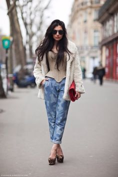 Funky Street Style with this corset and fur jacket and my favorite   leopard print heels!