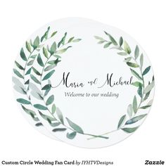 Shop Custom Circle Wedding Fan Card created by IYHTVDesigns. Bridesmaid Luncheon, Bridesmaids, Zazzle Invitations, Wedding Invitations, Liquid Ink, Wedding Fans, Welcome To Our Wedding, Card Making, Cards
