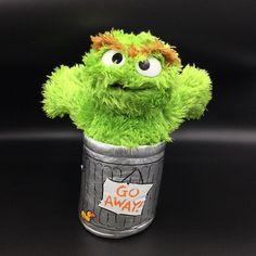 "Sesame Street Gund Oscar The Grouch Plush Trash Can Stuffed 9"" Silver Green 2011 #GUND"