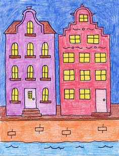 Amsterdam Buildings | Art Projects for Kids. How to draw tutorial available, free pdf download. #artprojectsforkids #howtodraw #Amsterdam