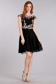 Two Piece Set Short Cocktail and party Dress features Floral Embroidery  Embellished Cropped Bodice with Bateau 2d1a26dfb
