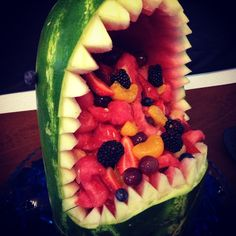"""Shark watermelon!  So easy!  Took about one hour to cut and carve!  Perfect for """"shark week"""" !!"""