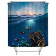Polyester Shower Curtain Bathroom Decor Home Decorations Seabed Fish / Summer Beach / Violin / Wolf Howl / White Shark - ICON2 Luxury Designer Fixures  Polyester #Shower #Curtain #Bathroom #Decor #Home #Decorations #Seabed #Fish #/ #Summer #Beach #/ #Violin #/ #Wolf #Howl #/ #White #Shark