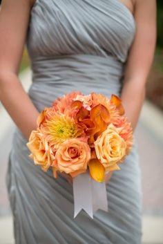 Orange Bridesmaid Bouquet with gray dress    Washington DC Wedding Ceremony: Clarisse + Gary