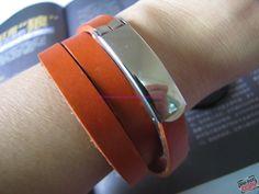 Orange Real Leather Bracelet Cuff Bracelet  Buckle by sevenvsxiao, $7.50