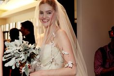 Backstage at the Carolina Herrera Bridal fashion show