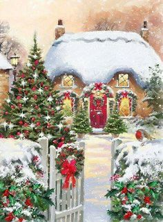 The Christmas countdown is just launched! Bring the magic of Christmas to your home! Because it is not always easy to imagine a Christmas decoration and holiday table consistent and really like you, deco. Christmas Scenes, Noel Christmas, Retro Christmas, Vintage Christmas Cards, Christmas Pictures, Winter Christmas, Christmas Wreaths, Christmas Crafts, Christmas Decorations