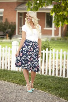 Button Floral Midi Skirt