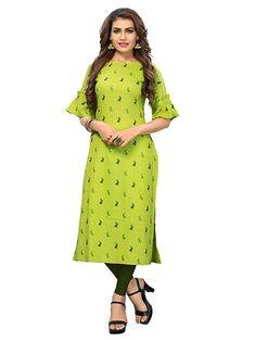 Janasya Indian Tunic Tops Poly Silk Kurti for Women Printed Kurti Designs, Simple Kurti Designs, Kurta Designs, Blouse Designs, New Kurti Pattern, Kurti Patterns, Best Kurtis, Indian Tunic Tops, Stylish Kurtis