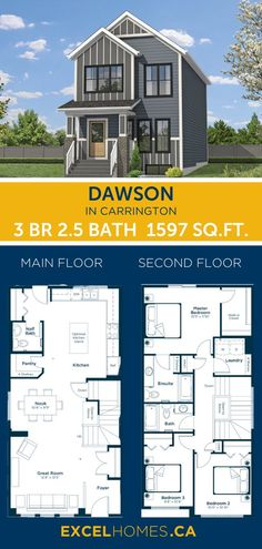 Modern Home design Floor plan | 3 bedroom floorplan | 2 story House Plans |  Dawson | Excel Homes #floorplan #floorplans #homedesign #home #homedecor #houseplans #excelhomes #homebuilder 3 Bedroom Home Floor Plans, Small House Floor Plans, Home Design Floor Plans, Dream Home Design, Small House Design, Modern House Design, House Plans, Building Design, Building A House