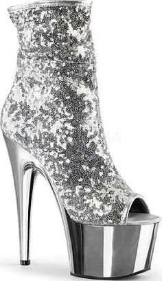 Pleaser Adore 1008SQ Ankle Boot in Silver Sequins. Pleaser Women s Shoes ... fa9738a10ce5