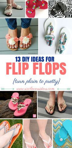 Here's a fun diy project for summer! Want to glam up some plain flip flops into something super cute? Check out these diy flip flop ideas to create! Flip Flops Diy, Fabric Flip Flops, Flip Flop Sale, Ribbon Flip Flops, Flip Flop Craft, Kids Flip Flops, Beach Flip Flops, Diy Crochet Flip Flops, Flip Flop Sandals