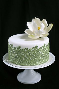 White and Sage Lace lotus cake ~ sugar Lotus and lace