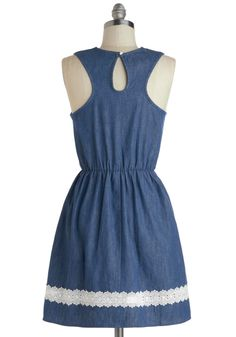 Farmhouse Potluck Dress. While everyone else arrives with their favorite covered dishes for tonights potluck dinner, youll make quite an entrance with both your signature-recipe dessert and your fashion-forward style - especially since youre donning this sleeveless dress! #blue #modcloth
