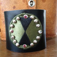 Black & army green STUDDED LEATHER CUFF bracelet by whackytacky, $45.00