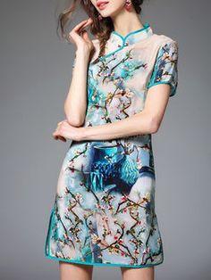 Casual Short Sleeve V Neck Mini Dress