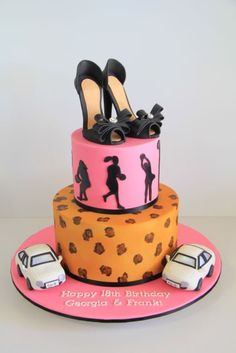 18th Birthday cake for twin girls who love shoes, leopard print and their brand new white cars.