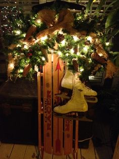 ~ Christmas Sled & Ice Skates w/ Greenery, Lights & Burlap ~