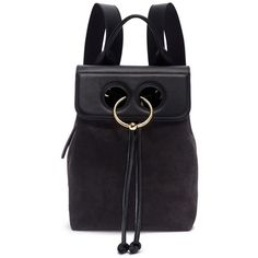 JW Anderson 'Pierce' barbell ring mini leather flap suede backpack (6265 QAR) ❤ liked on Polyvore featuring bags, backpacks, black, backpack bags, suede leather bag, mini rucksack, miniature backpack and day pack rucksack