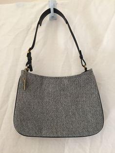 Coach Gray Herringbone Tweed Black Leather Handbag Shoulder Bag D1K-8162 #Coach #ShoulderBag