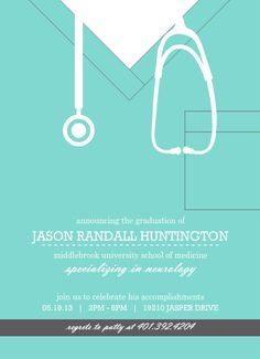 I bought these for Morgan's graduation--too cute!!  Turquoise Scrubs Medical School Graduation Invitation by PurpleTrail.com