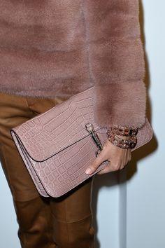 Dusty pink fur and snakeskin clutch at Gucci AW14 MFW. More images at: http://www.dazeddigital.com/fashionweek/womenswear/aw14