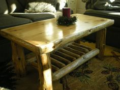 Coffee table with half log trim - this one is mine - LOVE IT! by Twist of Nature www.twistofnature...