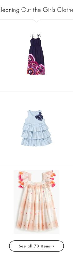 """""""Cleaning Out the Girls Clothes"""" by my-creative-mess ❤ liked on Polyvore featuring dresses, girl skirts/dresses, baby girl, kids, children, kids clothes, baby, baby girl clothes, blue print dress and blue cotton dress"""
