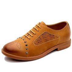 Women Flat Shoes, Casual Brand Leather Shoes, Blue, Khaki