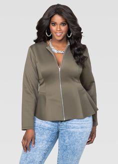 ff6545248b0 Peplum Scuba Jacket. Fashionable Plus Size ClothingTrendy Plus Size FashionAshley  StewartJackets ...