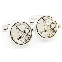 These sleek cuff links feature a steam punk design and displays the inner workings of a watch. A high polish finish adds shine to these unique cuff links.