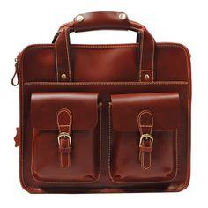 "Handmade Leather Briefcase / Messenger / 11"" MacBook Air 12"" Laptop Bag Bag in reddish brown"