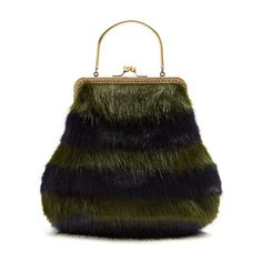 Shrimps Arthur faux-fur bag ($268) ❤ liked on Polyvore featuring bags, handbags, navy stripe, cocktail purse, special occasion handbags, navy blue handbags, evening purses and vintage style handbags